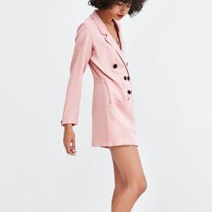 Zara pink blazer jumpsuit dress